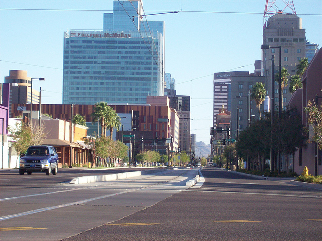 phoenix arizona - city view of buildings from a road
