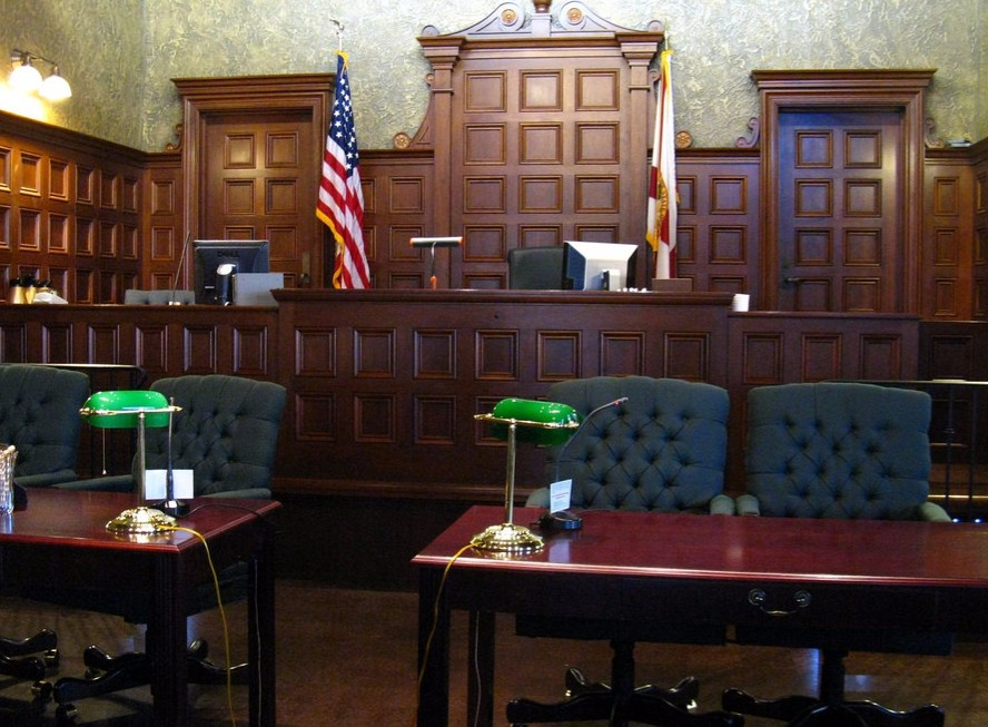 traffic, law - empty courtroom with defendant tables