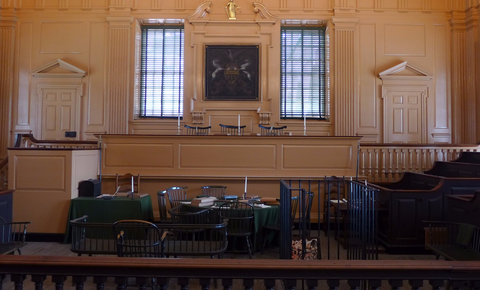 Court, lawyer, attorney - courtroom with benches, tables and chairs