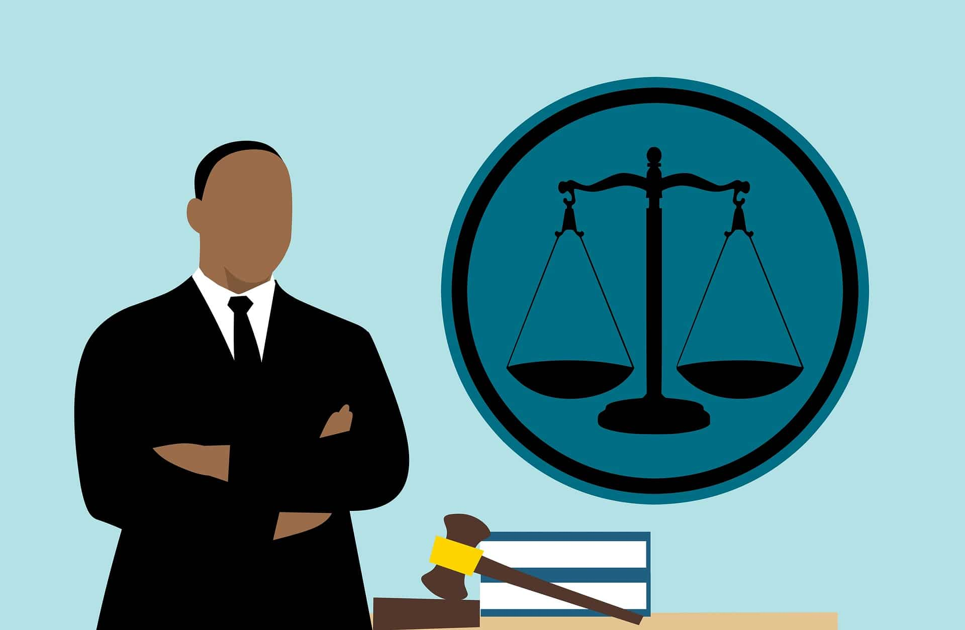 Criminal Defense Attorney in Phoenix - illustration of man next to gavel and books, with an icon of scales